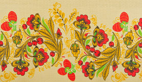 Russian floral pattern. On canvas Royalty Free Stock Photography