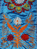 Russian folk art. Detail of an embroidered russian fabric Stock Photos