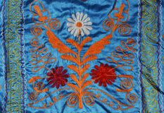 Russian folk art. Russian folk embroidered fabric detail Royalty Free Stock Image