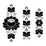 Russian folk art pattern - floral long stripes in black and white Royalty Free Stock Photography