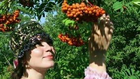Russian folk costume, girl, rowan stock footage