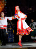 Russian folk dance. ULAN-UDE, RUSSIA - FEBRUARY 10: Dancers perform a Russian folk dance at the Annual Republican Best Sportsmen Award, February, 10, 2010, Ulan stock photos