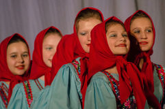 Russian folk dance contest Life in dance in the town of Kondrovo, Kaluga region in Russia in 2016. Stock Image