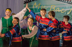 Russian folk dance contest Life in dance in the town of Kondrovo, Kaluga region in Russia in 2016. Stock Photo