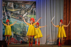 Russian folk dance contest Life in dance in the town of Kondrovo, Kaluga region in Russia in 2016. Stock Photo