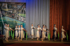 Russian folk dance contest Life in dance in the town of Kondrovo, Kaluga region in Russia in 2016. Stock Photos