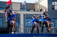 Russian folk dance is performed in the open sky Royalty Free Stock Photo
