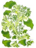 Russian folk design with fish in green color. Scan of original design (I'm creator vector illustration