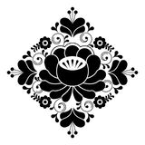 Russian folk design - floral pattern, black and white square composition Royalty Free Stock Images