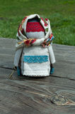 Russian folk doll. Russian traditional rag doll on nature background Stock Photography