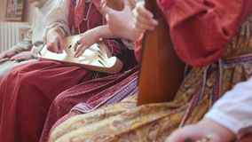 Russian folk ensemble plays ethnic instruments stock video