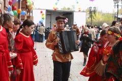Russian folk festival. Russia. Tomsk. Russian folk festival on the street Shishkova in Tomsk Royalty Free Stock Photography