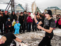 Russian folk holiday Maslenitsa in the Kaluga region. Stock Image