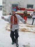 Russian folk holiday Maslenitsa in the Kaluga region. Royalty Free Stock Photos