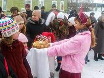 Russian folk holiday Maslenitsa in the Kaluga region. Royalty Free Stock Images