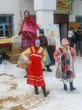 Russian folk holiday Maslenitsa in the Kaluga region. Royalty Free Stock Photography