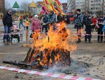 Russian folk holiday Shrovetide, in Gatchina, Leningrad Region, Royalty Free Stock Photography