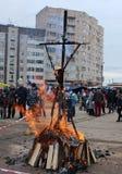 Russian folk holiday Shrovetide, in Gatchina, Leningrad Region,. March 13, 2016. Russian Binge. Farewell to winter, meeting spring. Burning effigies of Carnival stock photo
