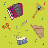 Russian folk musical instruments pattern. Picture poster royalty free illustration