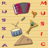 Russian folk musical instruments pattern. Picture poster Stock Photo