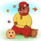 Russian folk tale about a kolobok stock illustration