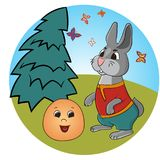 Russian folk tale about a kolobok. Tale of Kolobok. Russian creativity. Funny pictures with animals and a fictional character. For young children. To read the Royalty Free Stock Photography