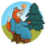 Russian folk tale about a kolobok. Tale of Kolobok. Russian creativity. Funny pictures with animals and a fictional character. For young children. To read the Royalty Free Stock Images