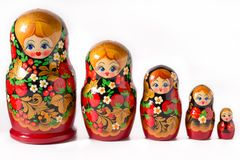 Matryoshka doll on white background. Russian folk toy. Matryoshka doll on white background Stock Photography