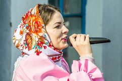Russian folk winter festival in the Kaluga region on March 13, 2016. Winter festival (Russian Shrovetide) - ancient Slavic holiday with numerous customs Stock Photos