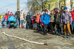 Russian folk winter festival in the Kaluga region on March 13, 2016. Winter festival (Russian Shrovetide) - ancient Slavic holiday with numerous customs Royalty Free Stock Images