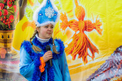 Russian folk winter festival in the Kaluga region on March 13, 2016. Winter festival (Russian Shrovetide) - ancient Slavic holiday with numerous customs Royalty Free Stock Photo
