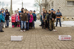 Russian folk winter festival in the Kaluga region on March 13, 2016. Winter festival (Russian Shrovetide) - ancient Slavic holiday with numerous customs Royalty Free Stock Photography