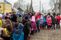 Russian folk winter festival in the Kaluga region on March 13, 2016. Winter festival (Russian Shrovetide) - ancient Slavic holiday with numerous customs Stock Image