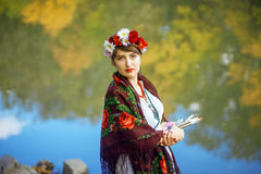 Russian folk woman artist Stock Photos