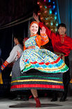 Russian folk woman dancer. ULAN-UDE, RUSSIA - FEBRUARY 10, 2010: Unidentified woman dancer performs a Russian folk dance at the Annual Republican Best Sportsmen stock photography