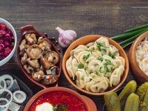 Russian food assortment Stock Photos