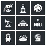 Russian, food, attraction, industry icons set. Vector Illustration. Stock Images