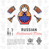 Russian food concept, restaurant menu. Russia culture thin line icons Royalty Free Stock Photos