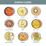 Russian food cuisine vector icons for restaurant menu Royalty Free Stock Photos