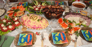 Russian food. Сelebration of the 60th anniversary of the Russian-style stock illustration