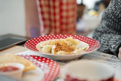 Russian food on red plate royalty free stock photo