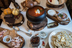 Russian food table Royalty Free Stock Photos