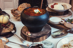 Russian food table Stock Photography