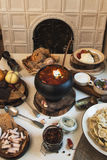 Russian food table Stock Images