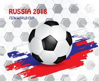 Fifa World Cup. Russian Football 2018. Championship Fifa world Cup. National traditional element for cards, invitations, brochures with flag, golden cup Stock Photography