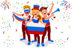 Russian football team flag supporter. Russia 2018 world cup football supporter crowd, cheerful soccer supporters with russian flag. Isometric people celebrating Stock Image