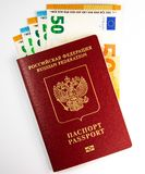 Russian foreign passport and banknotes royalty free stock image