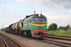 Russian Freight Diesel Train Stock Photo