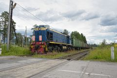 Russian freight train in motion Stock Photo