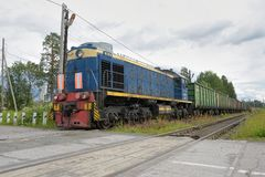 Russian freight train in motion Royalty Free Stock Photography
